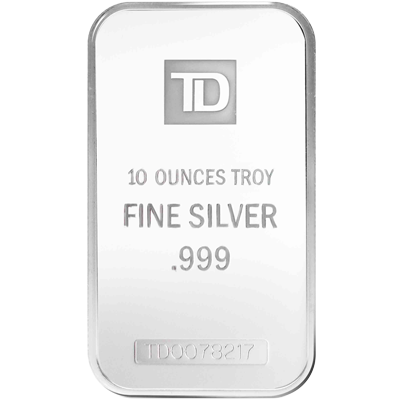 A picture of a 10 oz. TD Silver Bar